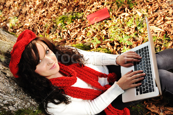 Close-up portrait of an beautiful autumn woman Stock photo © zurijeta