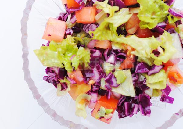 Zdjęcia stock: świeże · zielone · Sałatka · przygotowany · biały · posiłek