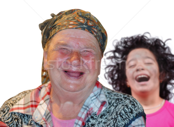 An old woman with red funny laughing face Stock photo © zurijeta