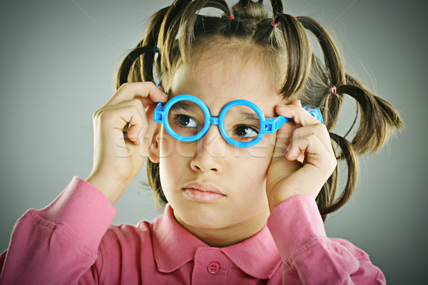 Vicces portré gyerek hajstílus baba arc Stock fotó © zurijeta
