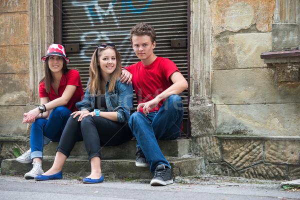Three cool adolescents posing Stock photo © zurijeta