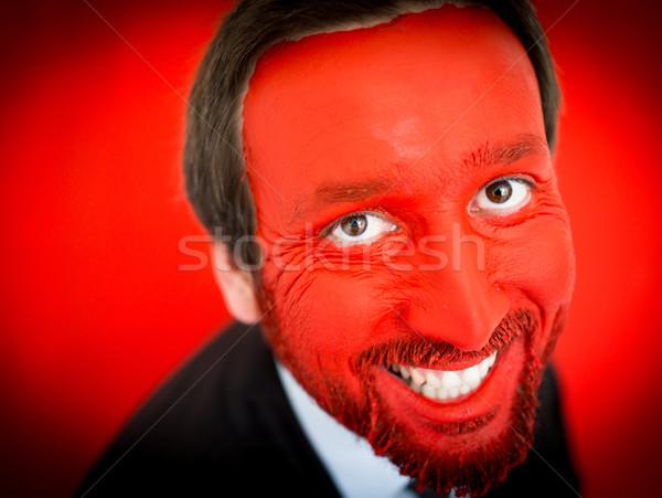портрет взрослый бизнесмен красочный красный лице Сток-фото © zurijeta