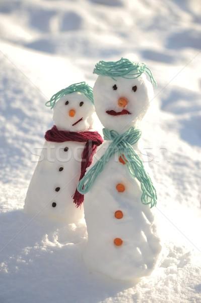 ストックフォト: 雪だるま · 冬 · クリスマス · 口 · ボール · カード