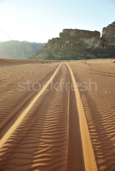 Road in Desert of Wadi Rum in Jordan Stock photo © zurijeta