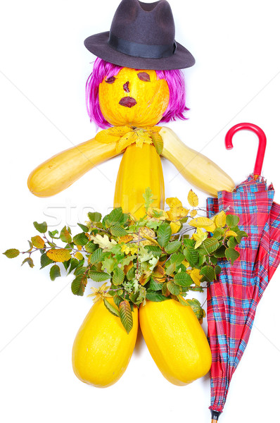 Doll made by pumpkins, periwig, hat and leaves Stock photo © zurijeta
