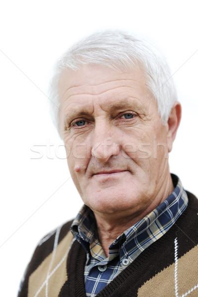 портрет красивый старший человека белые волосы счастливым Сток-фото © zurijeta