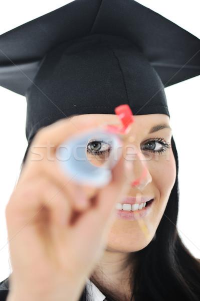 Student meisje toga diploma business Stockfoto © zurijeta