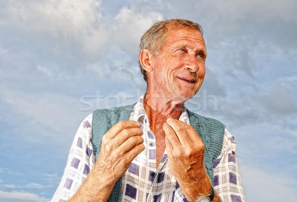 Középkorú szegény férfi személy érdekes gesztusok Stock fotó © zurijeta