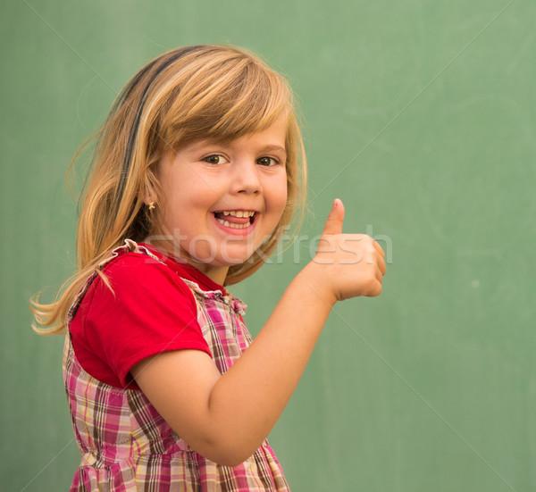 Stockfoto: Aanbiddelijk · weinig · school · blond · meisje · klas