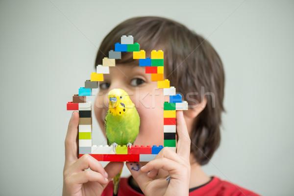 Kid играет ПЭТ Parrot рук птица Сток-фото © zurijeta
