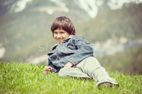 子供 美しい 春 休暇 のどかな アルプス山脈 ストックフォト © zurijeta