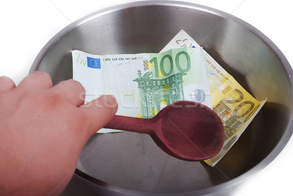Stock photo: Money in dish prepared for cooking