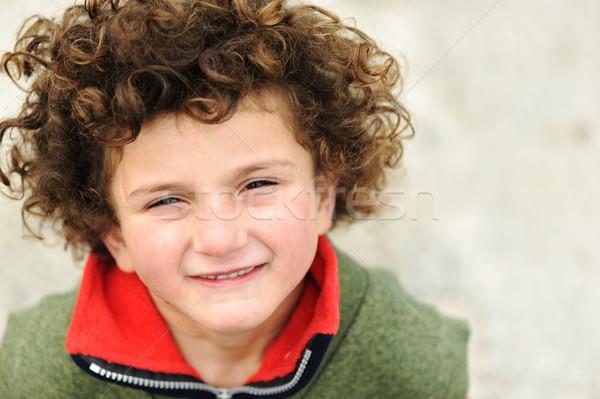 Stockfoto: Portret · cute · kid · gezicht · haren