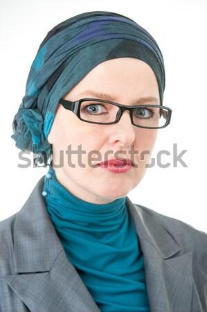 Gyönyörű európai muszlim nő boldog szemüveg Stock fotó © zurijeta
