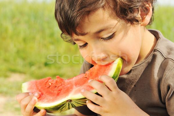 Eating watermelon outside Stock photo © zurijeta