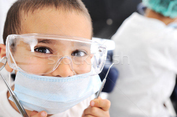Kids at hospital, Little doctors, playing surgeon Stock photo © zurijeta