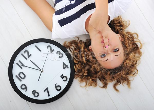 Ragazza clock silenzio segreto felice lavoro Foto d'archivio © zurijeta