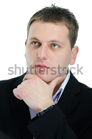 Closeup image of a guy with his hands on his chin Stock photo © zurijeta