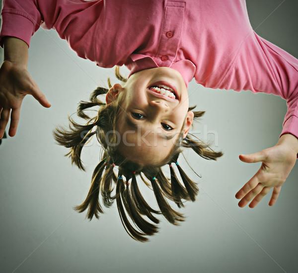 Funny Porträt kid Frisur Lächeln Gesicht Stock foto © zurijeta