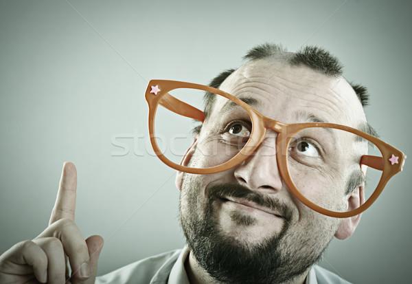 Retrato homem bonito metade careca homem cara Foto stock © zurijeta