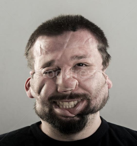 Foto d'archivio: Brutto · uomo · ritratto · sorriso · faccia · occhi
