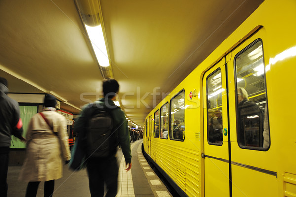 Train in motion, underground metro, people walking Stock photo © zurijeta