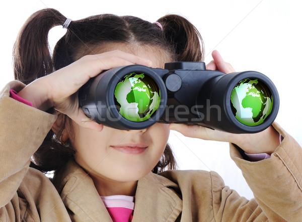 Stock fotó: Kislány · látcső · Föld · földgömb · szemüveg · kéz