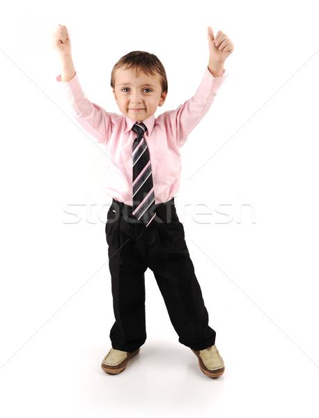 Adorable little kid wearing a suite Stock photo © zurijeta