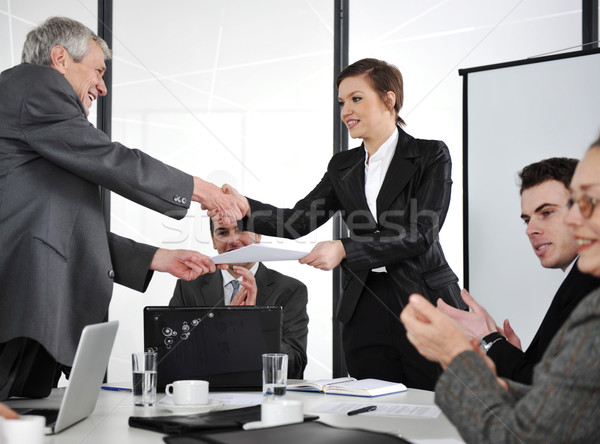 Agreement signed, hand shaking Stock photo © zurijeta