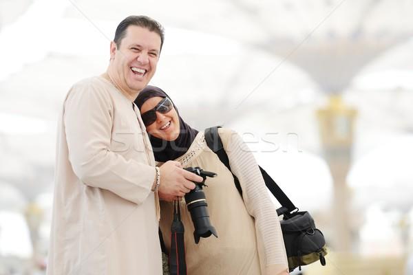 Muslim Arabic woman portrait outdoors in holy mosque Stock photo © zurijeta