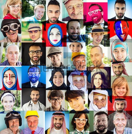 Collage of many different happy human faces of people Stock photo © zurijeta