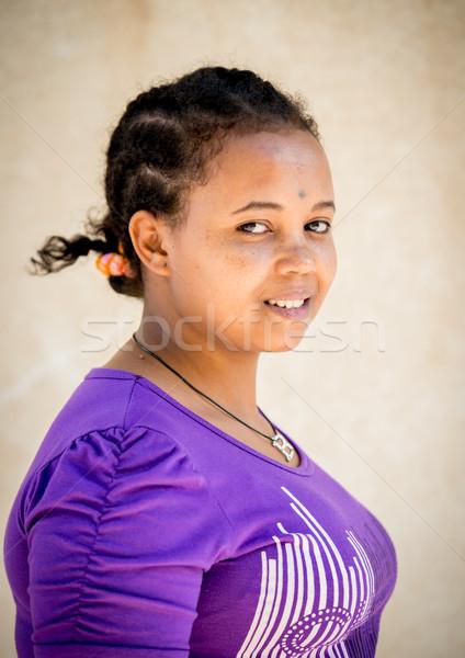 Afrika kız mutlu moda saç boya Stok fotoğraf © zurijeta