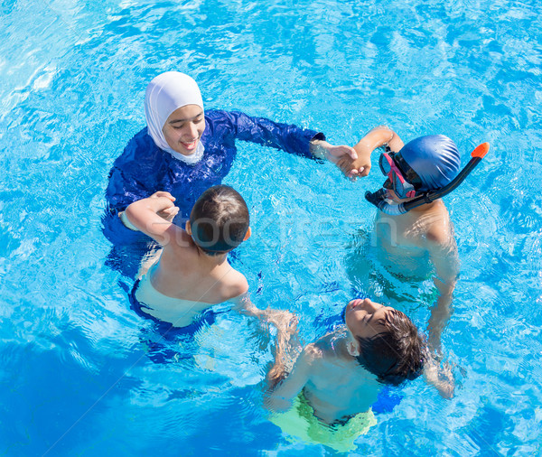 Muslim girl with special swimming suit Stock photo © zurijeta