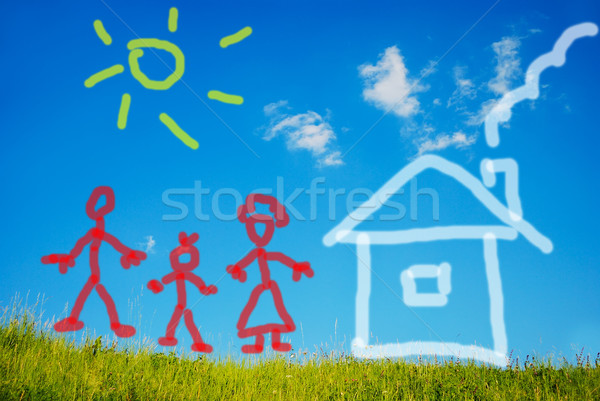 Illustrated happy family and their new home on green meadow Stock photo © zurijeta