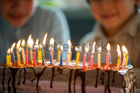 Two little boys blowing candles on cake, happy birthday party Stock photo © zurijeta