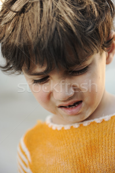 Portrait of poverty, little poor dirty boy, closeup Stock photo © zurijeta