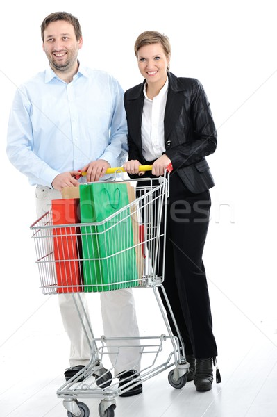 Photo stock: Couple · Shopping · ensemble · panier · fruits · jeunes
