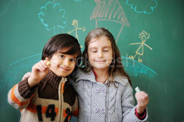 Boldog iskola haverok mosoly arc diák Stock fotó © zurijeta