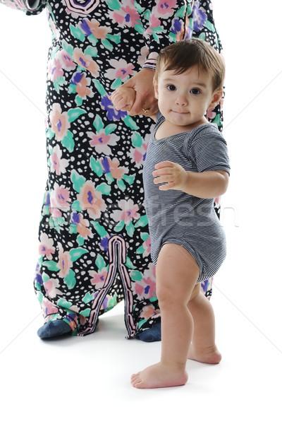 Anya segít baba gyártmány első lépcső Stock fotó © zurijeta