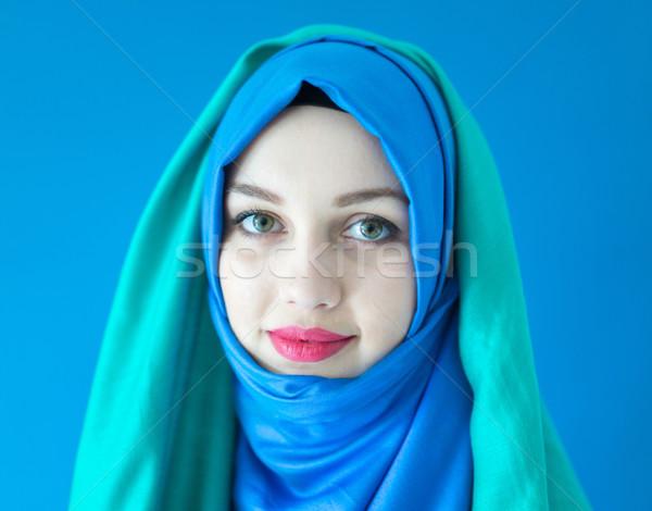Gyönyörű arab lány sál kék közel-keleti Stock fotó © zurijeta