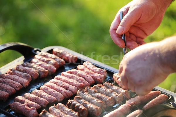 Grill BBQ grill odkryty żywności ognia Zdjęcia stock © zurijeta