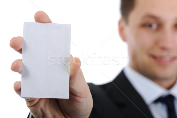 Businessman holding vertical business card Stock photo © zurijeta