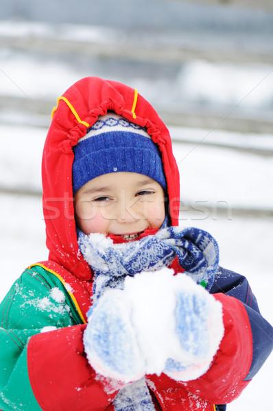 Childhood on snow Stock photo © zurijeta