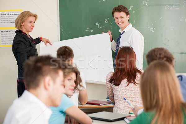 Student and teacher with a panel Stock photo © zurijeta