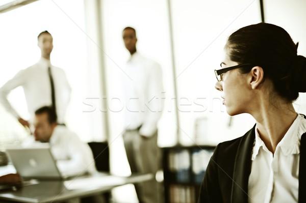 Retro başarılı iş adamları gerçek ofis çalışma Stok fotoğraf © zurijeta