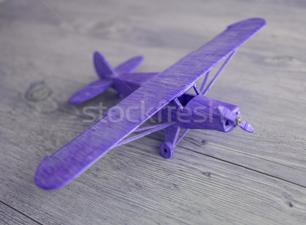 Stock photo: Wooden toy airplane