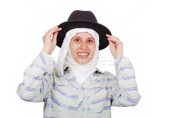 Fiatal muszlim nő hagyományos ruházat kalap Stock fotó © zurijeta