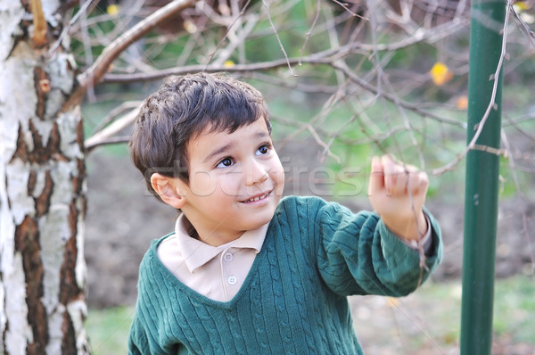 Happy positive cute kid outdoor, fall period Stock photo © zurijeta