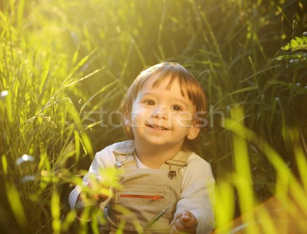 Stock foto: Cute · liebenswert · Baby · kid · Sitzung · schönen