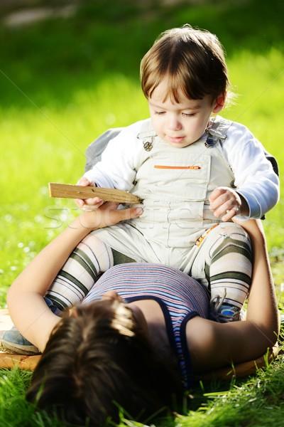 Aranyos mosolyog baba portré kívül nyár Stock fotó © zurijeta
